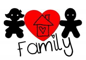 muñecos de familia y corazón en color rojo
