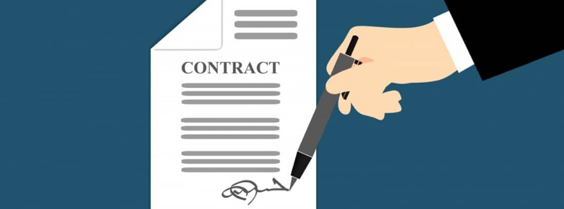 Ilustración de una mano firmando un contrato y otra mano sujetándolo
