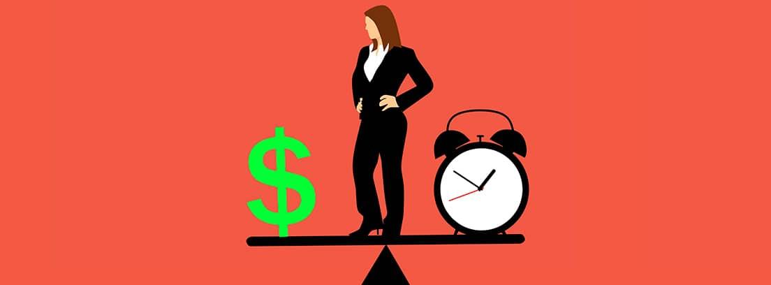 Ilustración de una mujer sobre una balanza, con el símbolo dólar y un reloj en cada platillo