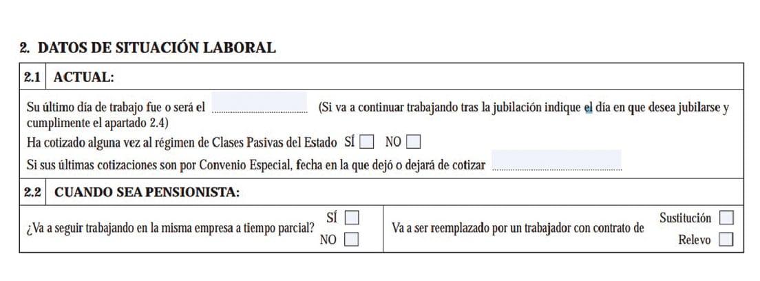 Extracto del formulario de solicitud de jubilación