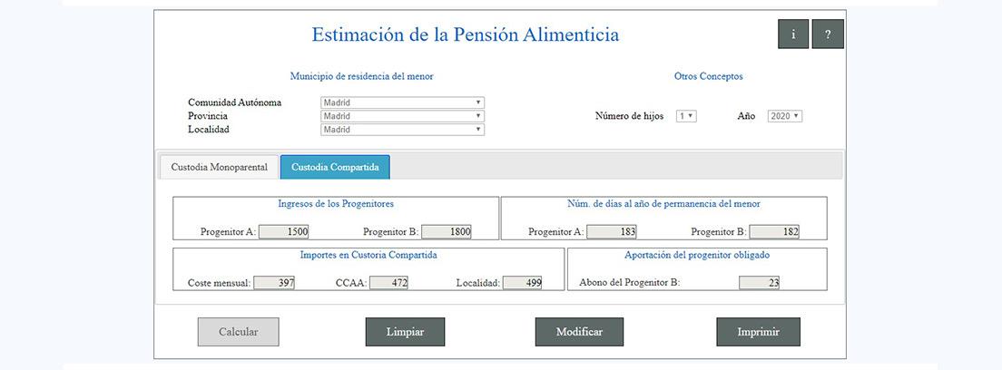 Pantallazo de la aplicación del CGPJ para calcular la pensión alimenticia