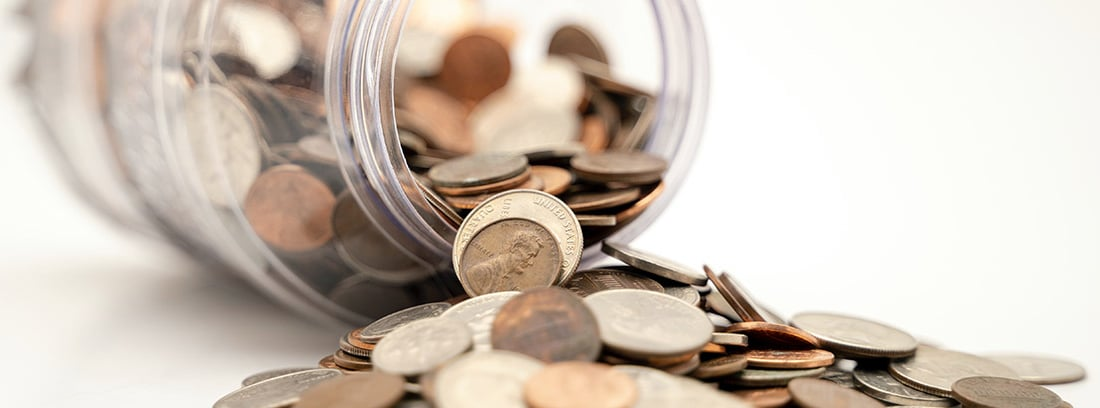 Bote con monedas