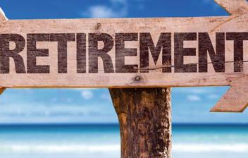 """Flecha en la que hay escrita la palabra """"retirement"""""""