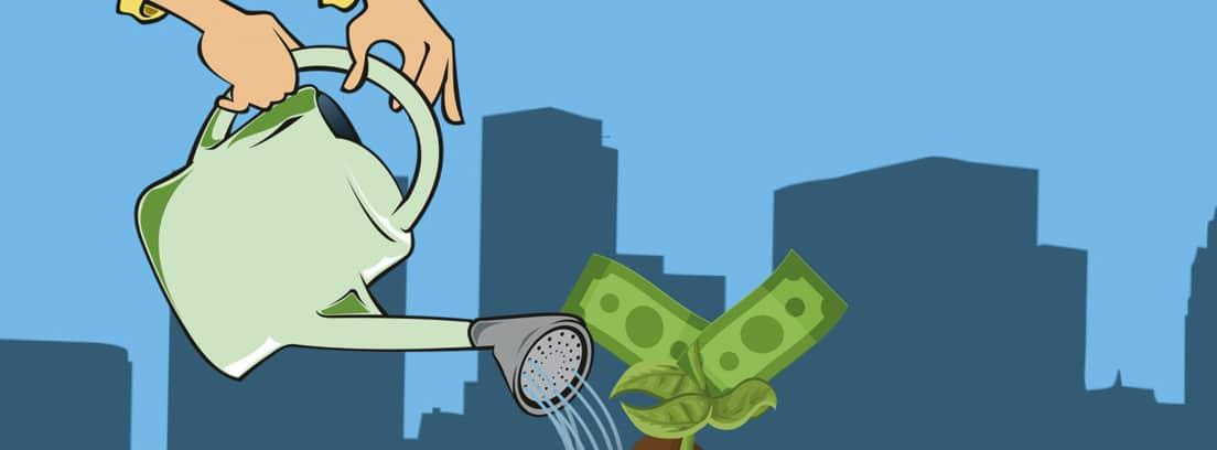 Ilustración de una regadera regando una planta con billetes