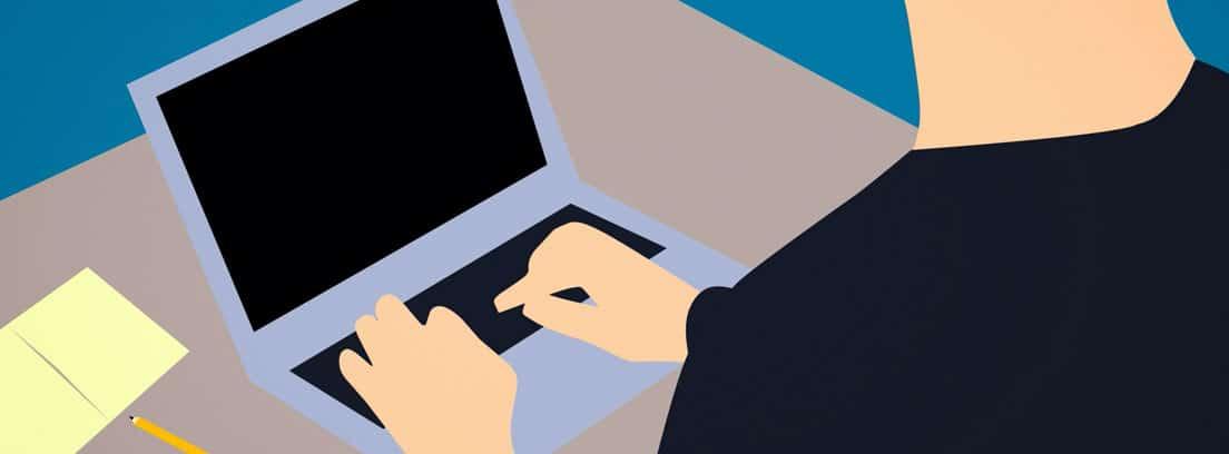 Ilustración que muestra a un trabajador freelance o autónomo en un ordenador