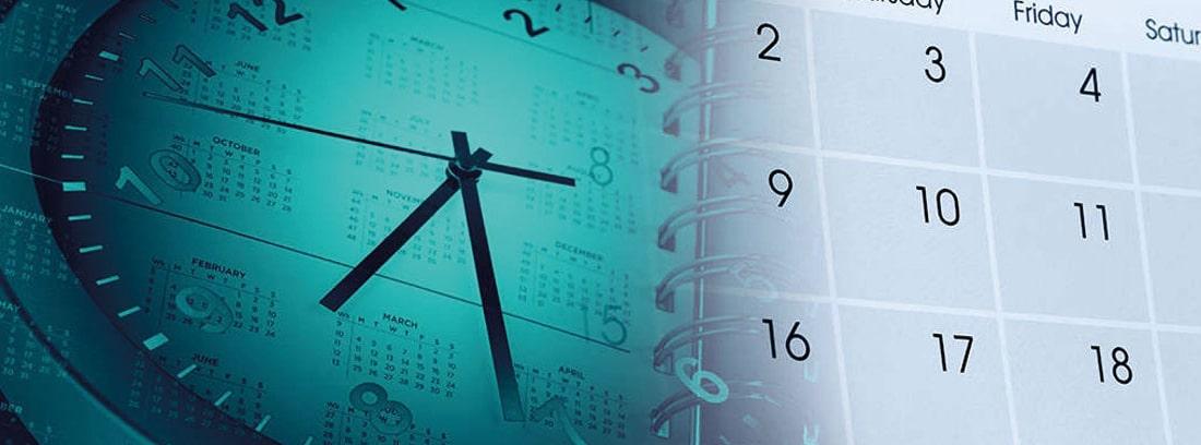 Reloj sobre un calendario