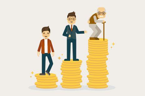 Tres hombres de diferente edad y su ahorro mensual correspondiente.