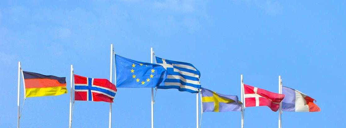 Diferentes y variadas banderas ondean al viento ante un moderno edificio.