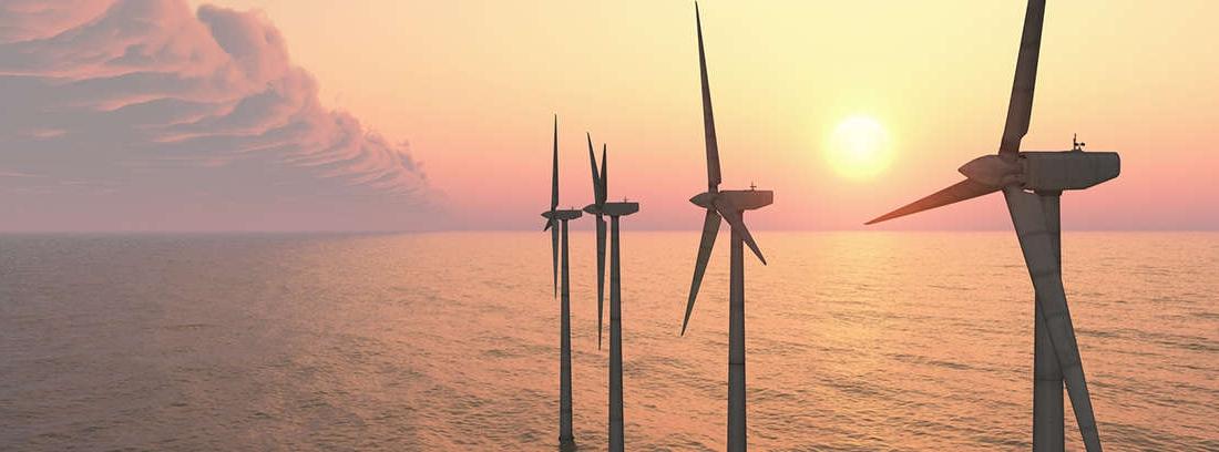 Grupo de aerogeneradores de un parque eólico