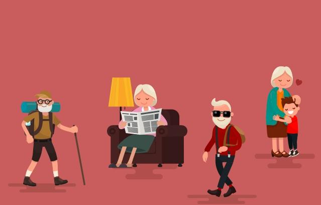 distintos tipos de abuelos en formato de dibujos
