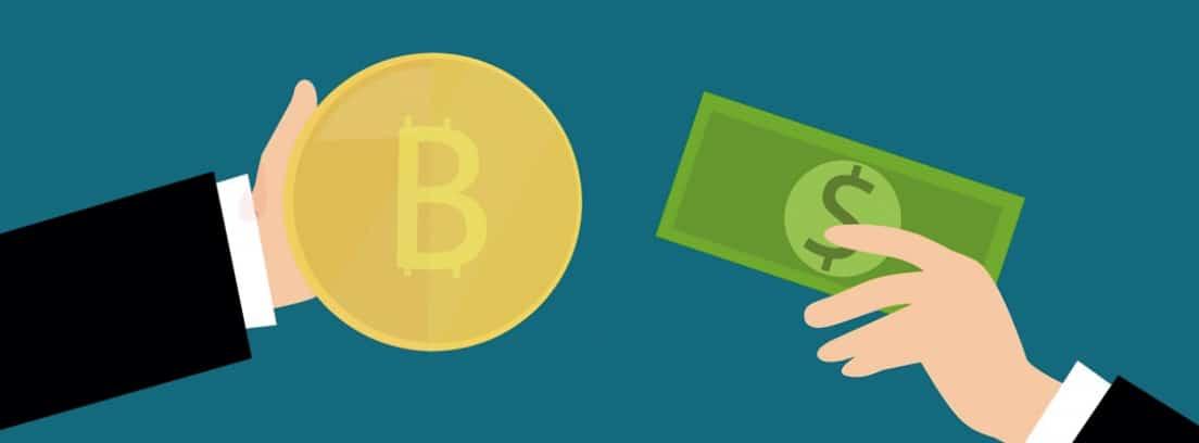 Ilustración de mano con bitcoin y otra mano con billete de dólar