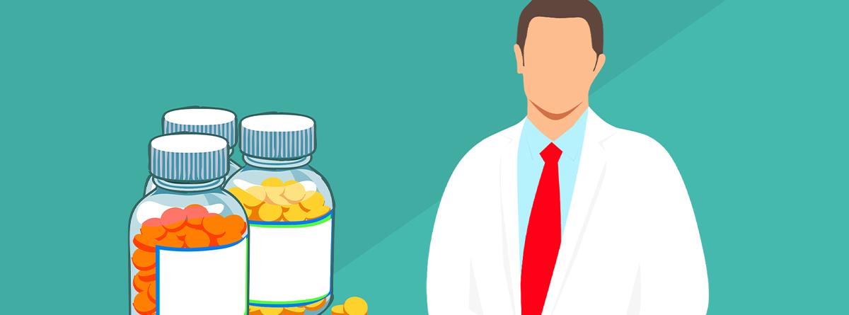 Ilustración de un hombre con bata blanca y frascos con pastillas