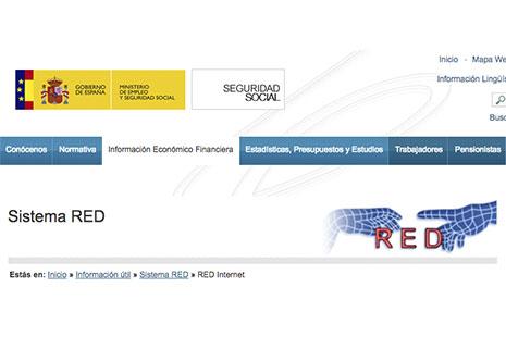 Plataforma de la Seguridad Social detallando los principios del Sistema RED