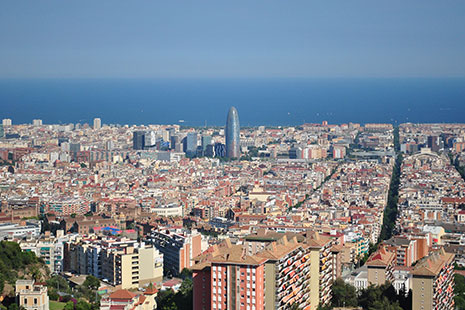 Vista aérea de los barrios de Barcelona