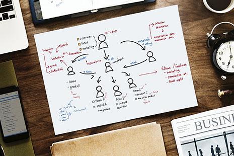 Hoja con un gráfico con dibujos y letras rodeado de un móvil, agenda y despertador