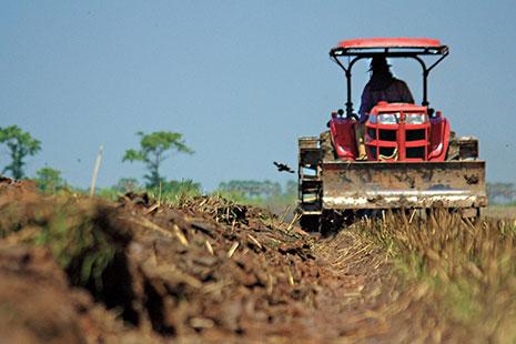 Tractor rojo sobre tierra marrón