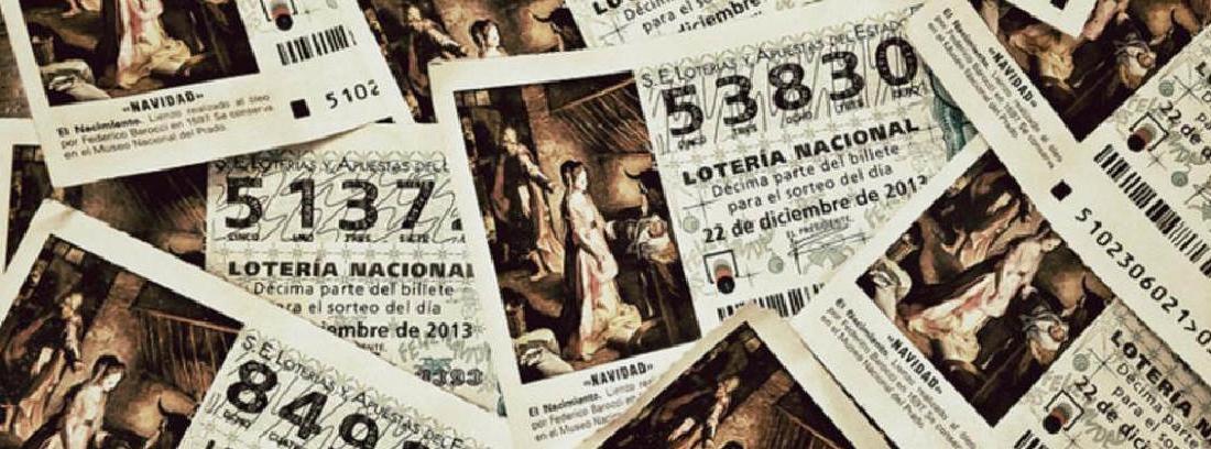 Diferentes billetes de lotería con números e imágenes distintas