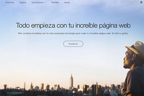 Página de inicio de Wix.com