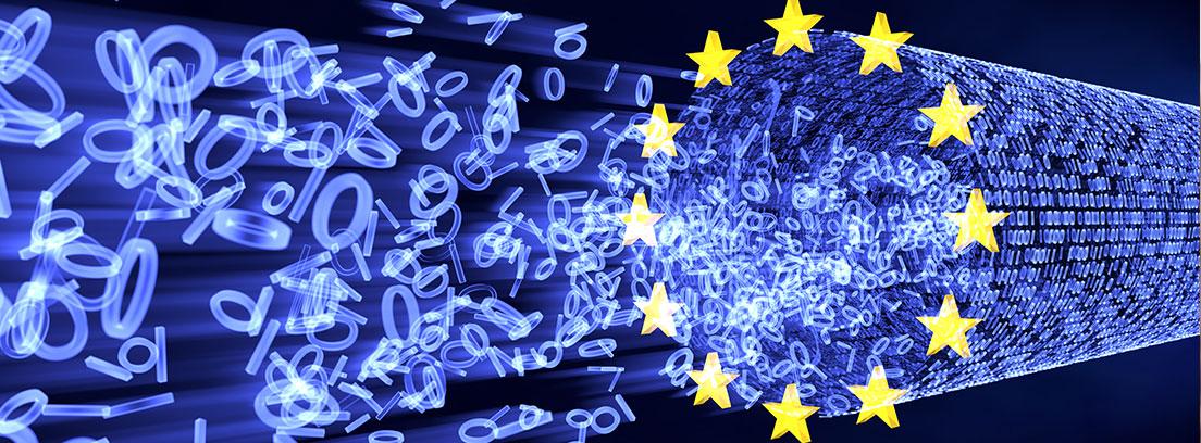 Anillo de estrellas de la Unión Europea que conforma un cable de fibra óptica por el que viaja información. Se trata de números 1 y 0 del código binario.