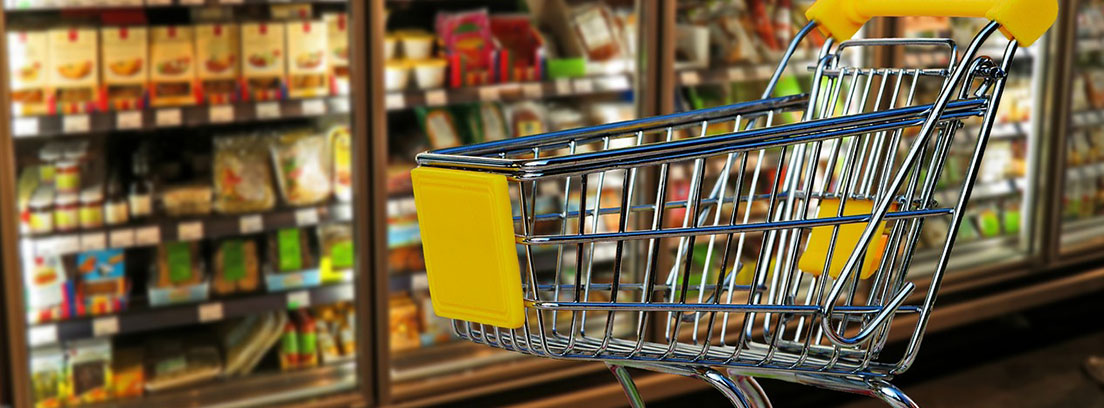 Carro de compra de supermercado metálico delante de refrigeradores con alimentos