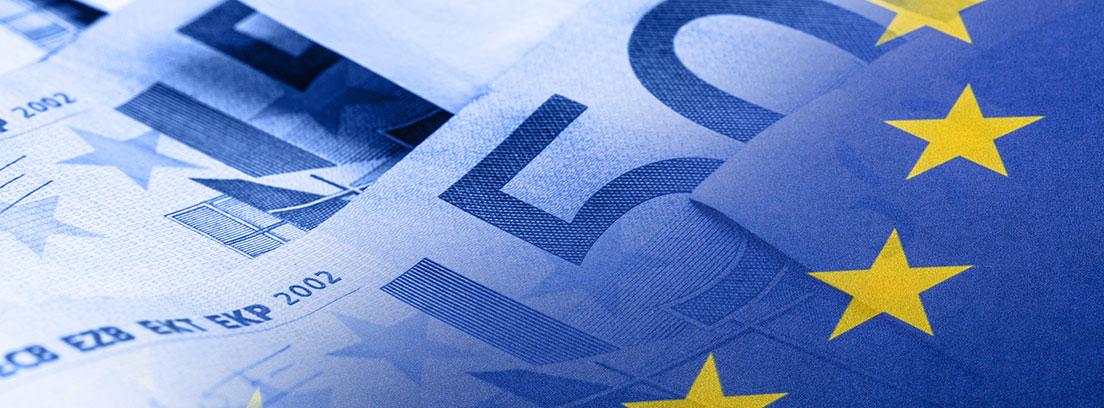 Imagen de un billete de 500€ coloreado con los colores de la bandera de la Unión Europea