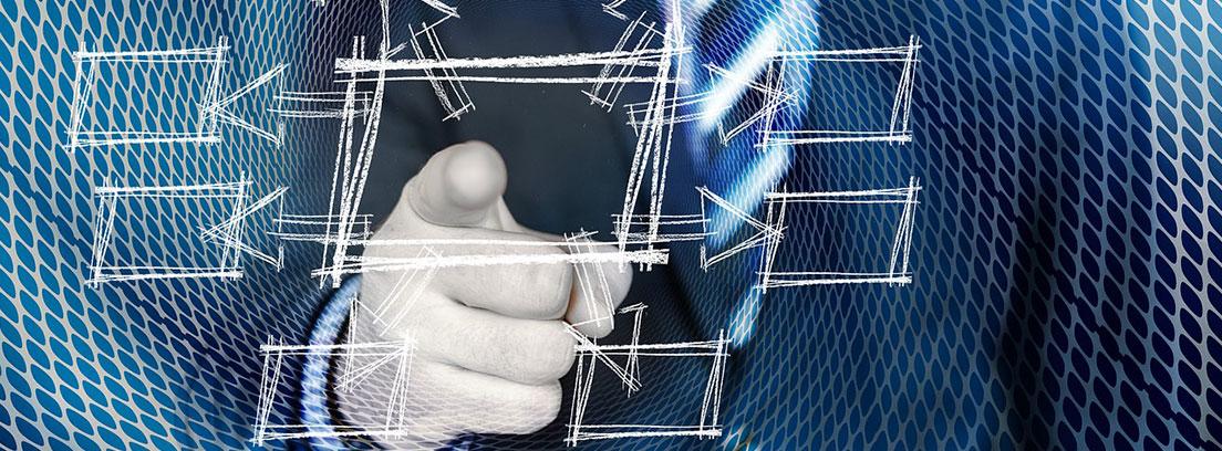 Figura humana con chaqueta y corbata con dedo índice extendido hacia diagrama
