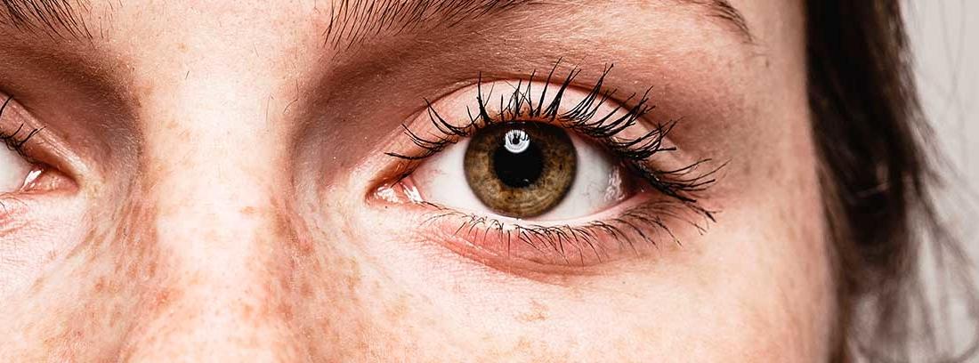 Primer plano del ojo y la nariz de una mujer