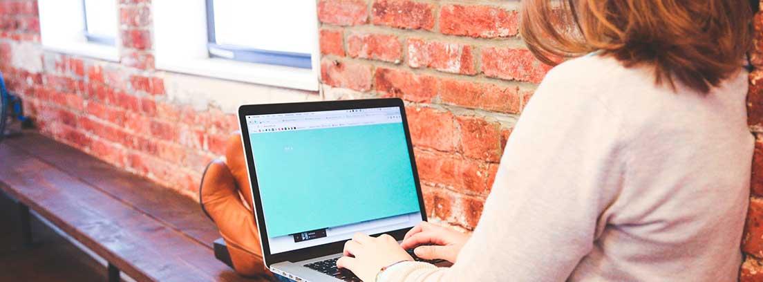 Mujer sentada de espaldas en un banco con un ordenador portátil sobre las piernas