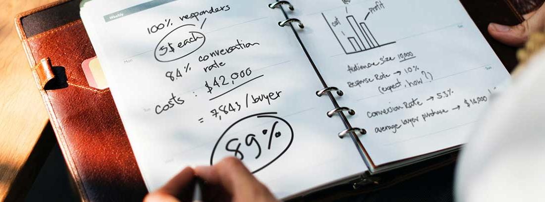 Agenda abierta con hojas con números y gráficos sobre ella una mano con bolígrafo