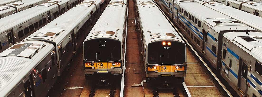 Varios trenes detenidos en una estación de ferrocarril