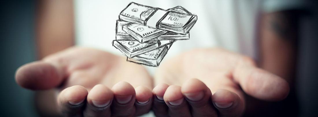 Manos juntas con las palmas hacia arriba con una ilustración de varios fajos de billetes