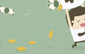 Ilustración de un hombre con corbata corriendo con los brazos arriba sujetando una bolsa con el símbolo del dólar