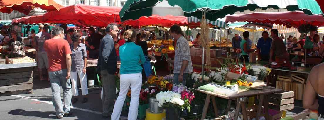 Puestos de calle con toldos de colores y flores