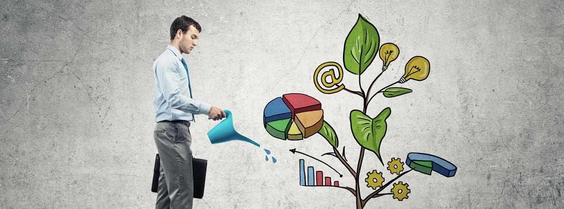 Hombre con traje y maletín regando una planta dibujada con símbolos