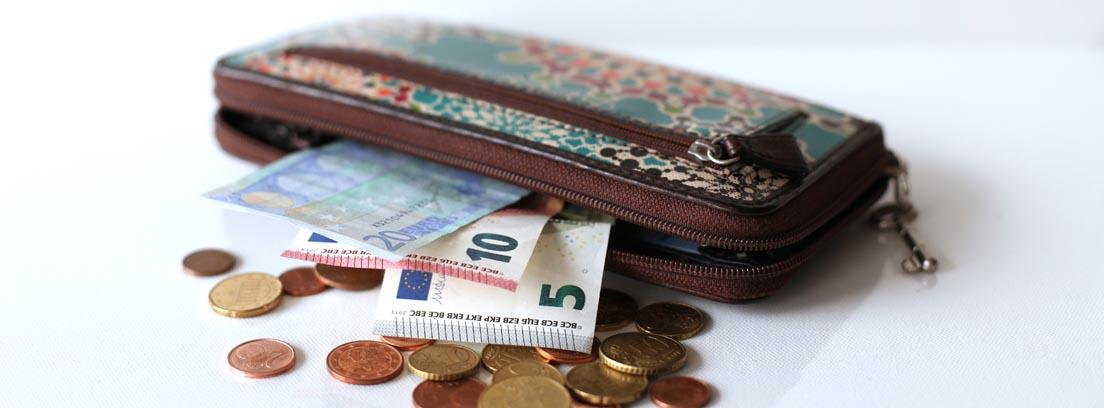 Monedero con billetes y monedas
