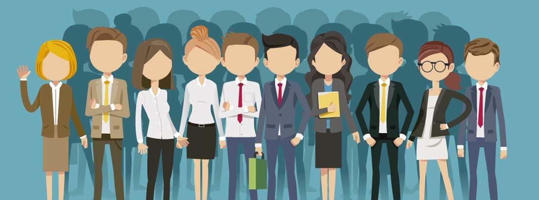 Ilustraciones de varias personas representando diferentes profesiones