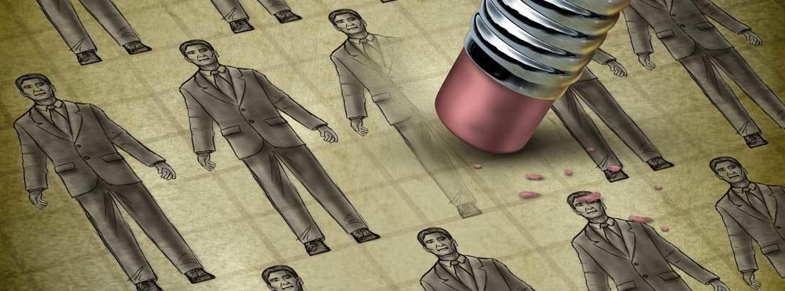 Lápiz borrando la imagen de un hombre en una ilustración