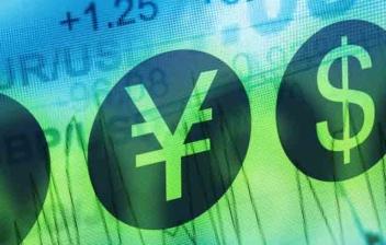 Símbolos de divisas con pantalla de números y gráficos al fondo