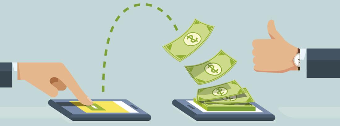 Ilustración de una transferencia bancaria con una mano pulsando la pantalla de un móvil del que salen varios billetes para llegar a otro móvil y una mano con el pulgar arriba