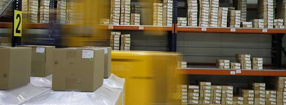 Diferentes estantes con muchas pequeñas cajas con etiqueta en almacén