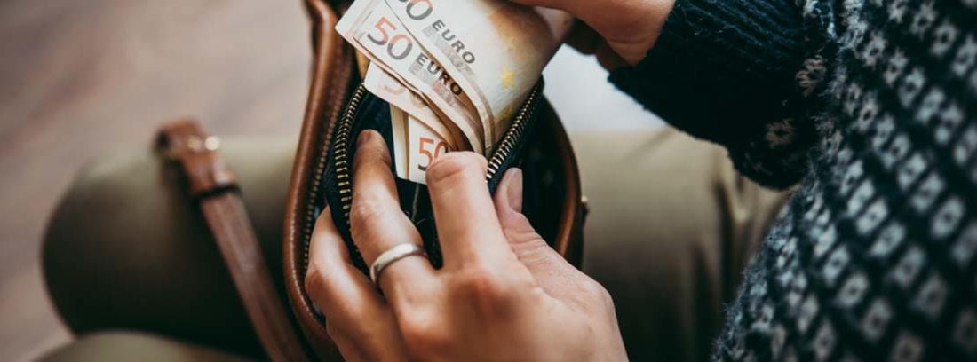 Mujer saca varios billetes de 50 euros de una cartera
