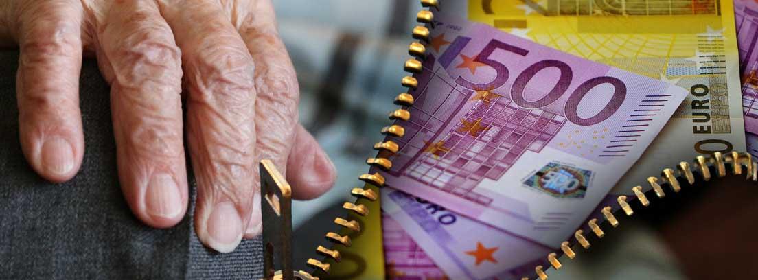 Mano de anciano al lado de una cremallera abierta que deja ver unos billetes de euro
