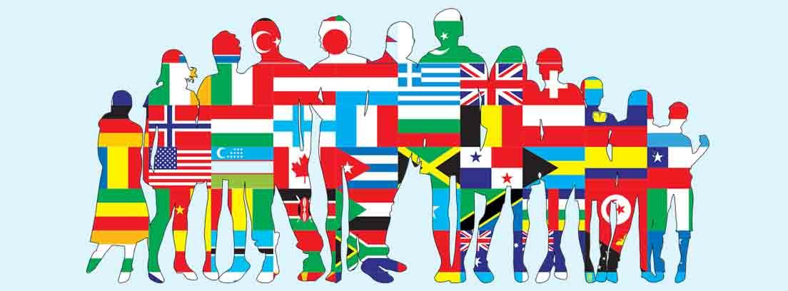 Dibujo de personas realizado con distintas banderas