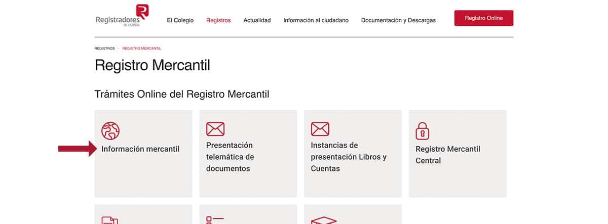 Pantallazo de la página web Registradores de España