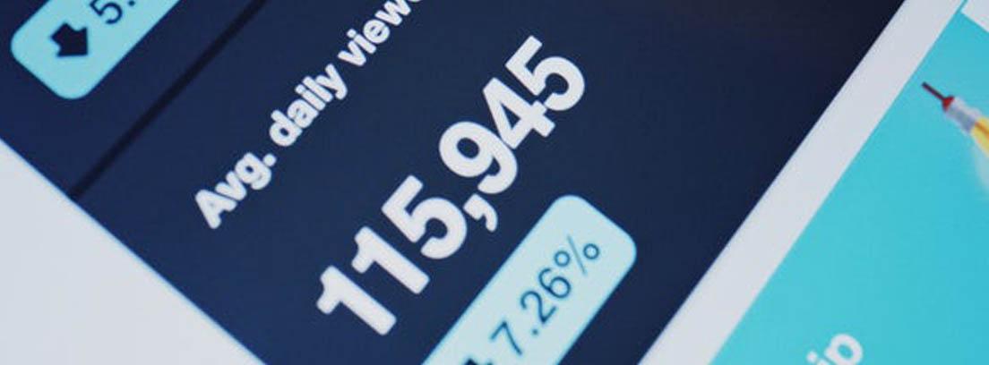 Pantalla de dispositivo electrónico mostrando datos económicos