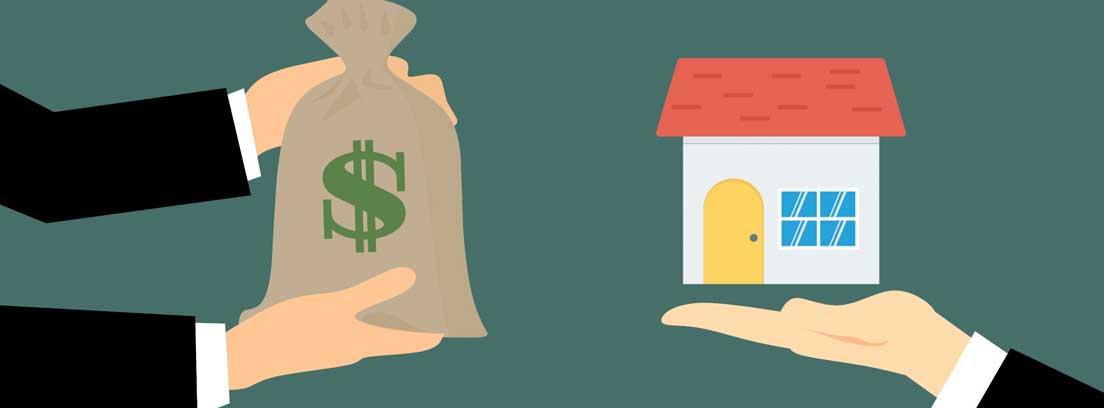 Ilustración de una manos ofreciendo un saco con un símbolo del dólar a otras manos que sujetan una casa, como metáfora de lo que se necesita para comprar una casa