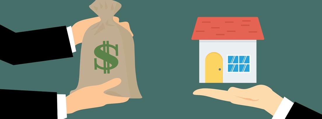 Manos con un saco con el símbolo del dólar y manos con una casa
