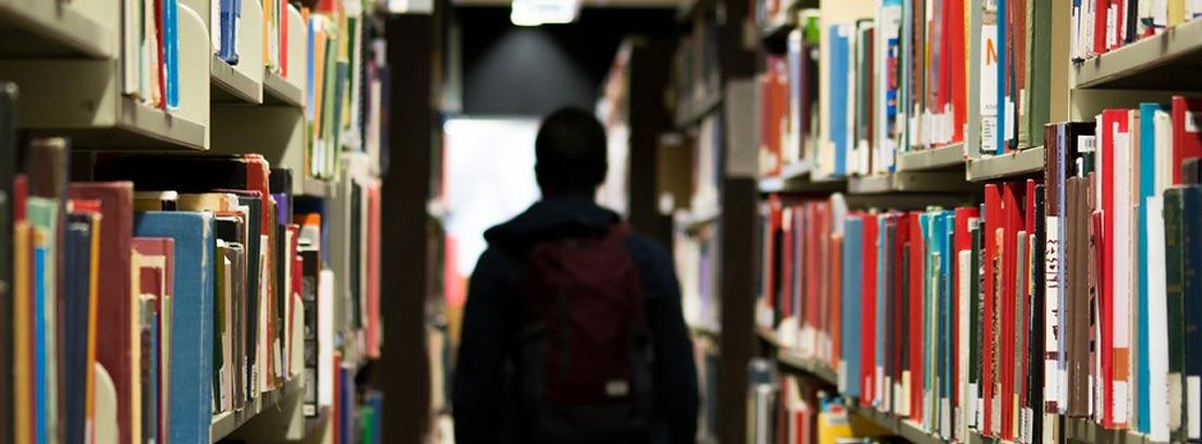 chico de espaldas en un pasillo lleno de libros