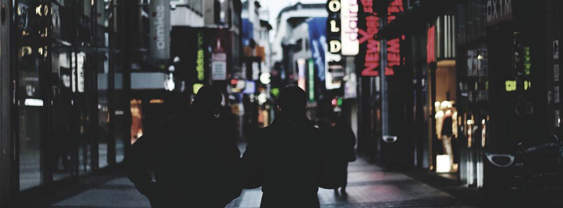 Dos personas de espaldas paseando por una calle de una ciudad