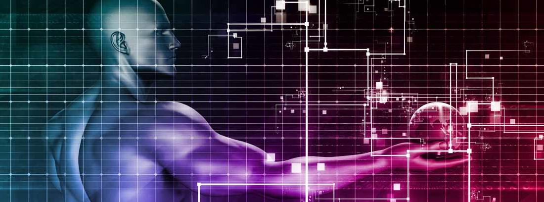 Ilustración de un hombre sujetando con una mano un globo terráqueo entre gráficos y líneas, como metáfora de las empresas de servicios digitales
